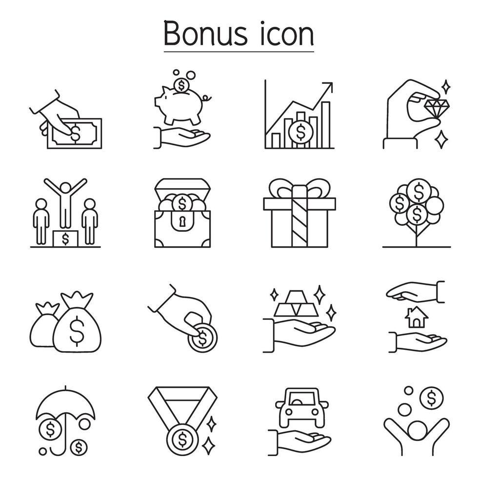 bonus, förmåner, intjäning, vinst, förmån Ikonuppsättning i tunn linje stil vektor