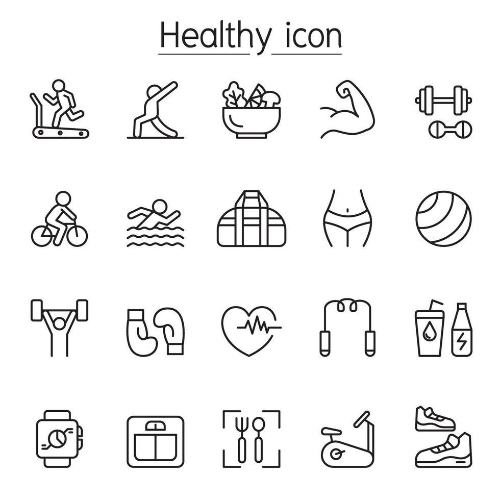 fitness och hälsa Ikonuppsättning i tunn linje stlye vektor
