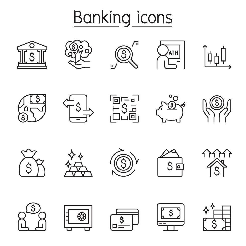 bank ikonuppsättning i tunn linje stil vektor