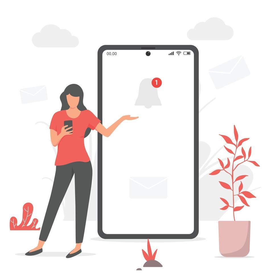 Woment und Benachrichtigung auf dem Handy vektor