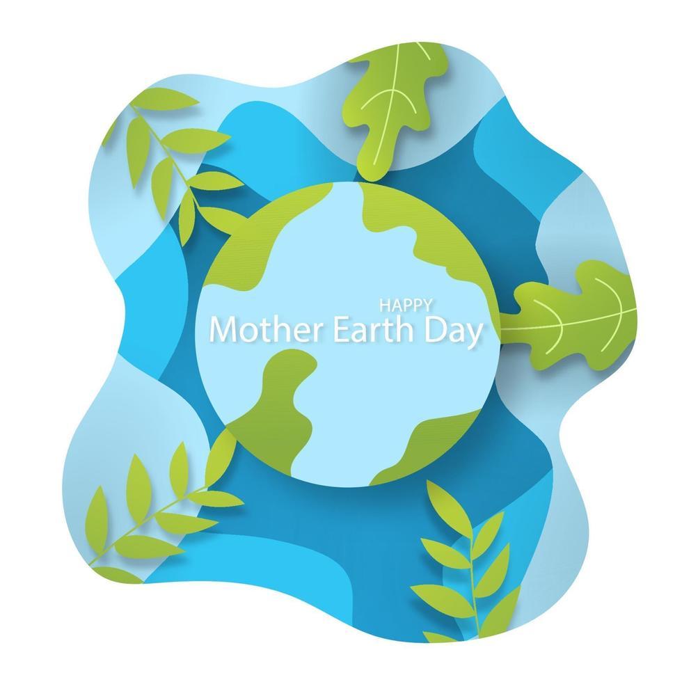 lyckligt moder jorddagskoncept med jord med trädlöv på vit och blå bakgrund vektor