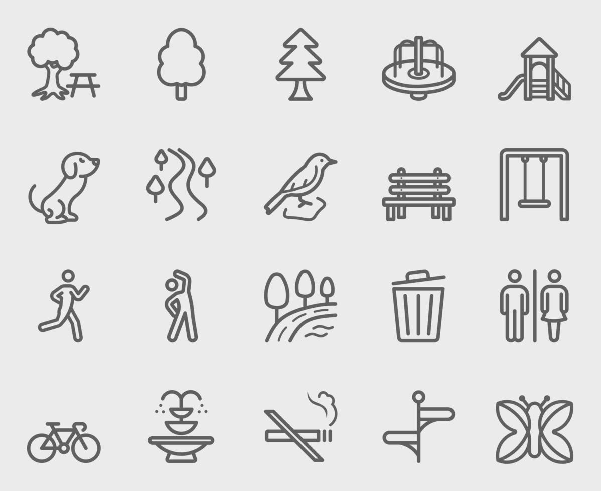 park utomhus linje ikoner set vektor