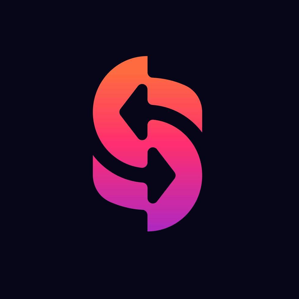 Buchstabe s Logo mit Pfeil. Logo-Vorlage für Buchstaben, Logo für bewegliche Buchstaben vektor