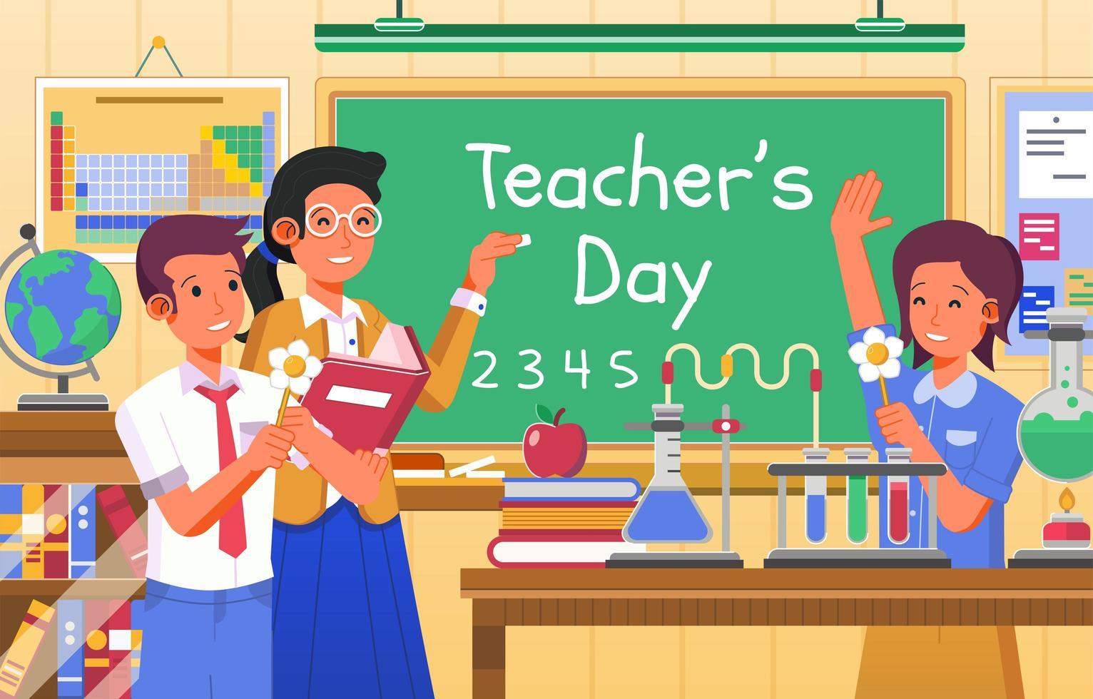 lärarens dag vid kemisk klassdesign vektor