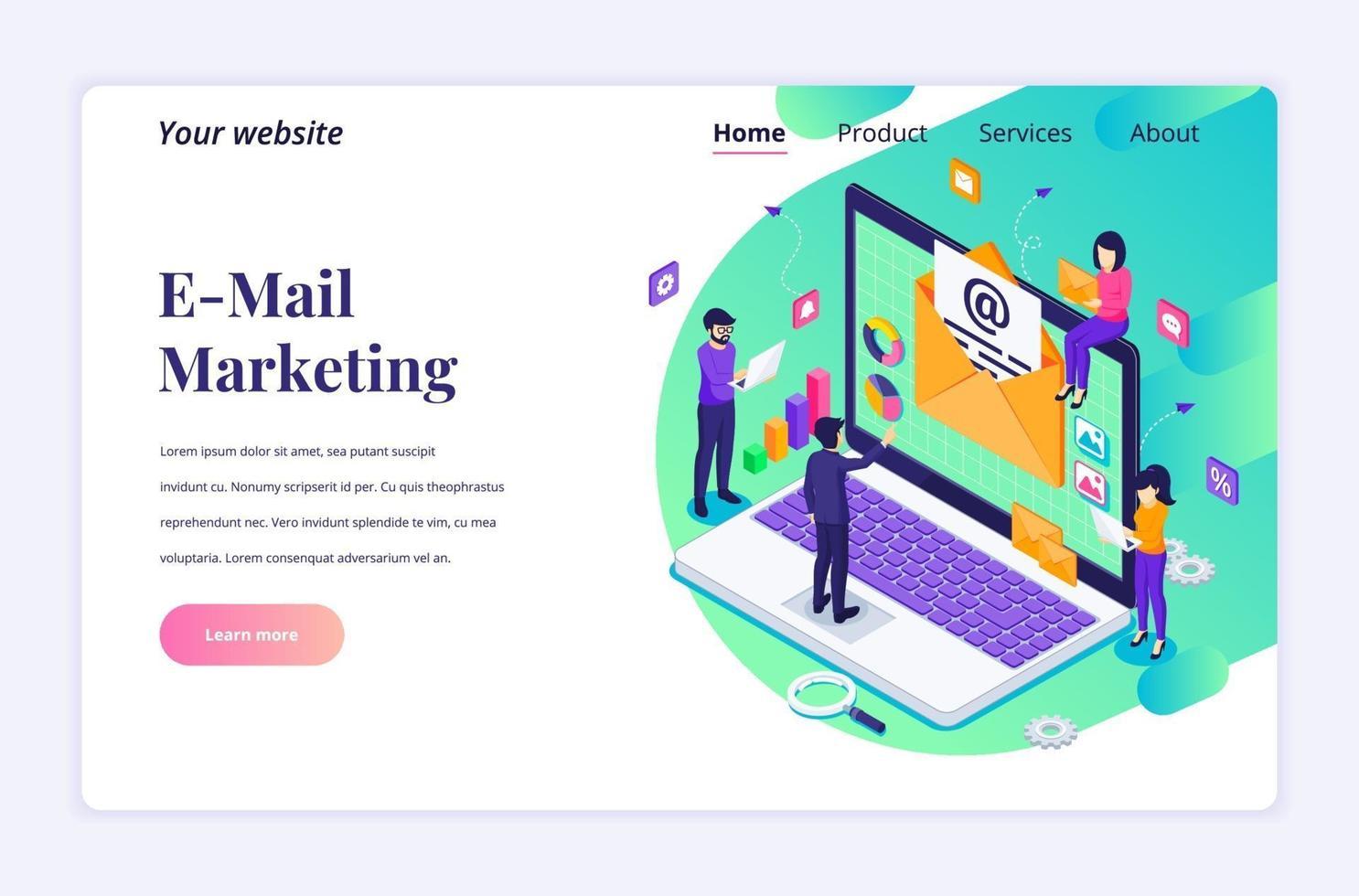 isometrisk målsidades designkoncept för e-postmarknadsföring, posttjänster med människor arbetar nära en jättebärbar dator. vektor illustration