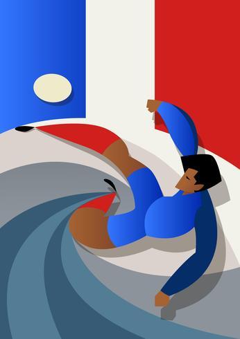 Frankreich-Weltmeisterschaft-Fußballspieler, die Ball treten vektor