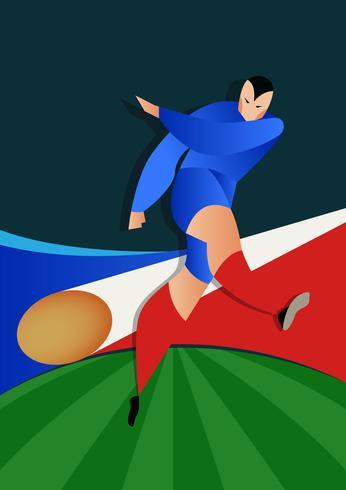 Frankreich-Weltmeisterschaft-Fußball-Spieler-Aktion vektor