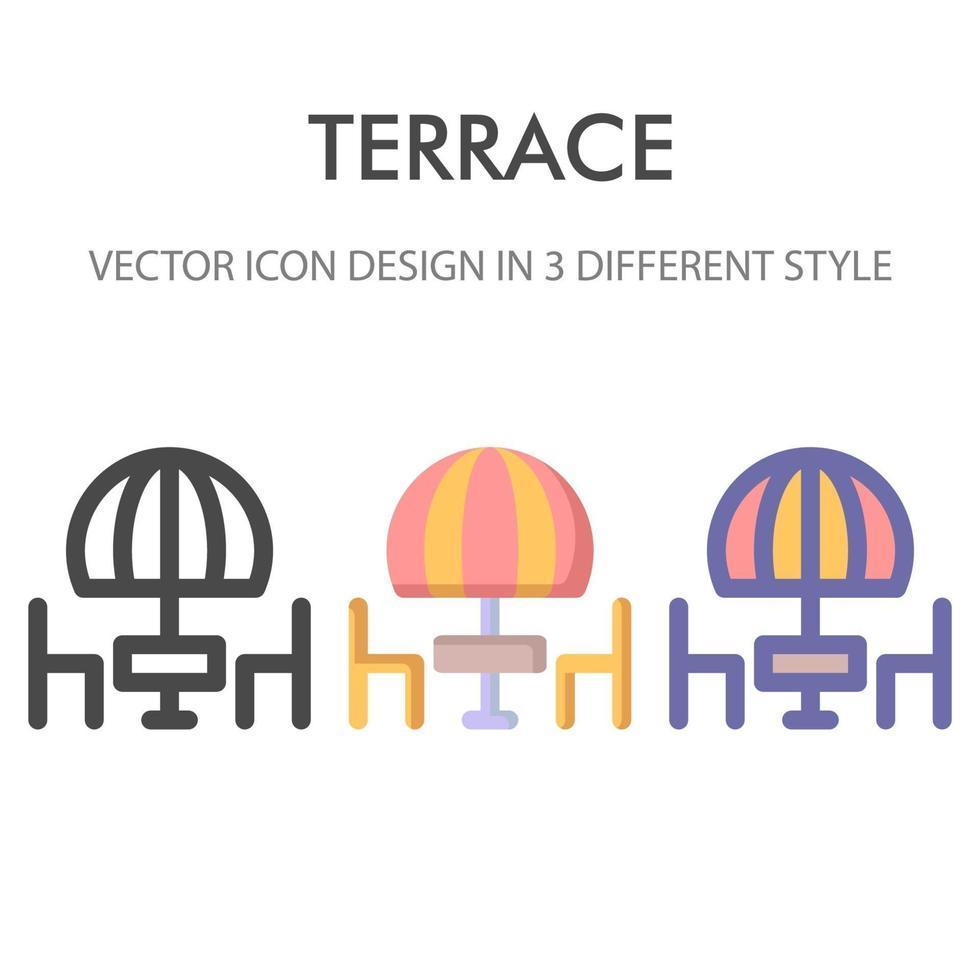 Terrassenikonenpaket lokalisiert auf weißem Hintergrund. für Ihr Website-Design, Logo, App, UI. Vektorgrafiken Illustration und bearbeitbarer Strich. eps 10. vektor