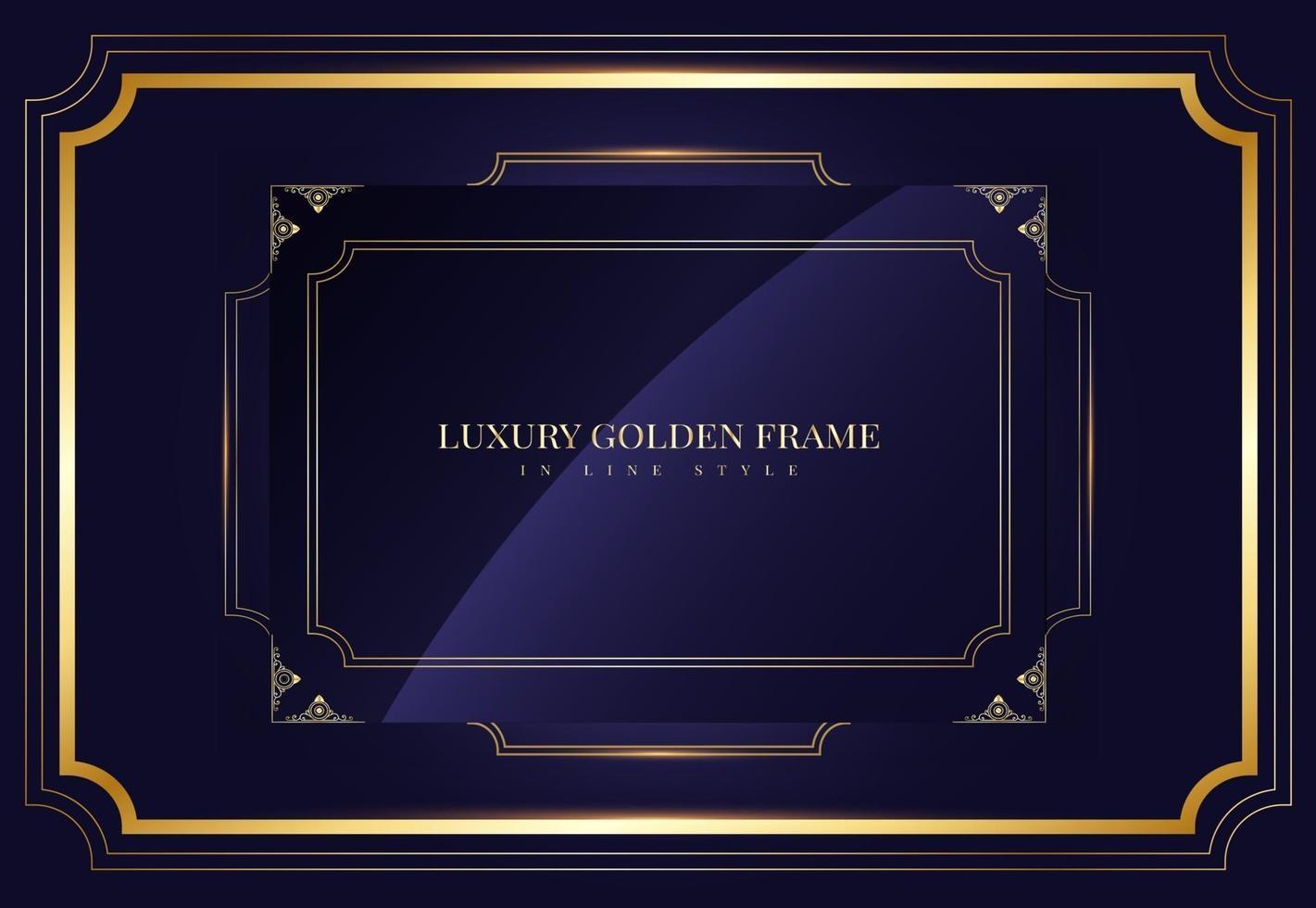 gyllene ram i gyllene linjestil på blått vektor