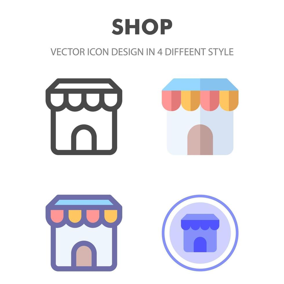 Shop Icon Design in 4 verschiedenen Stilen. Icon Design für Ihr Website-Design, Logo, App, UI. Vektorgrafiken Illustration und bearbeitbarer Strich. eps 10. vektor