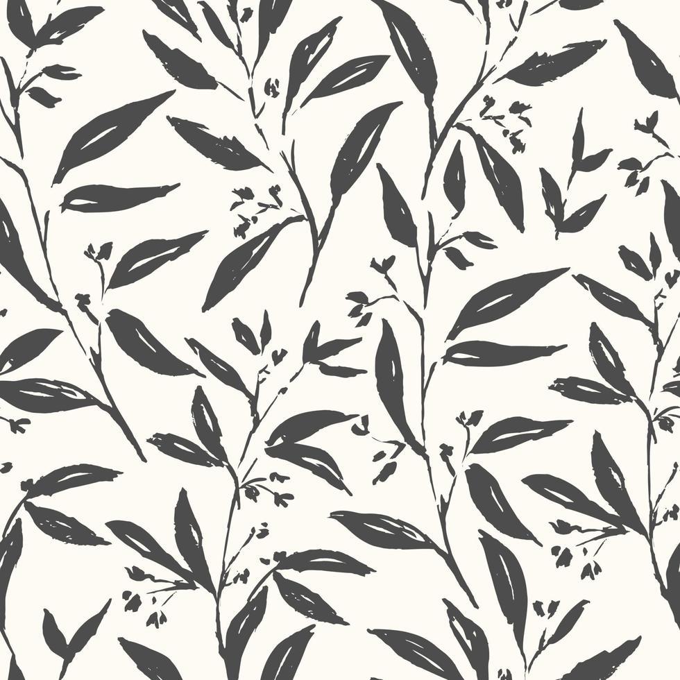 handritad växt svart och vitt sömlöst mönster vektor