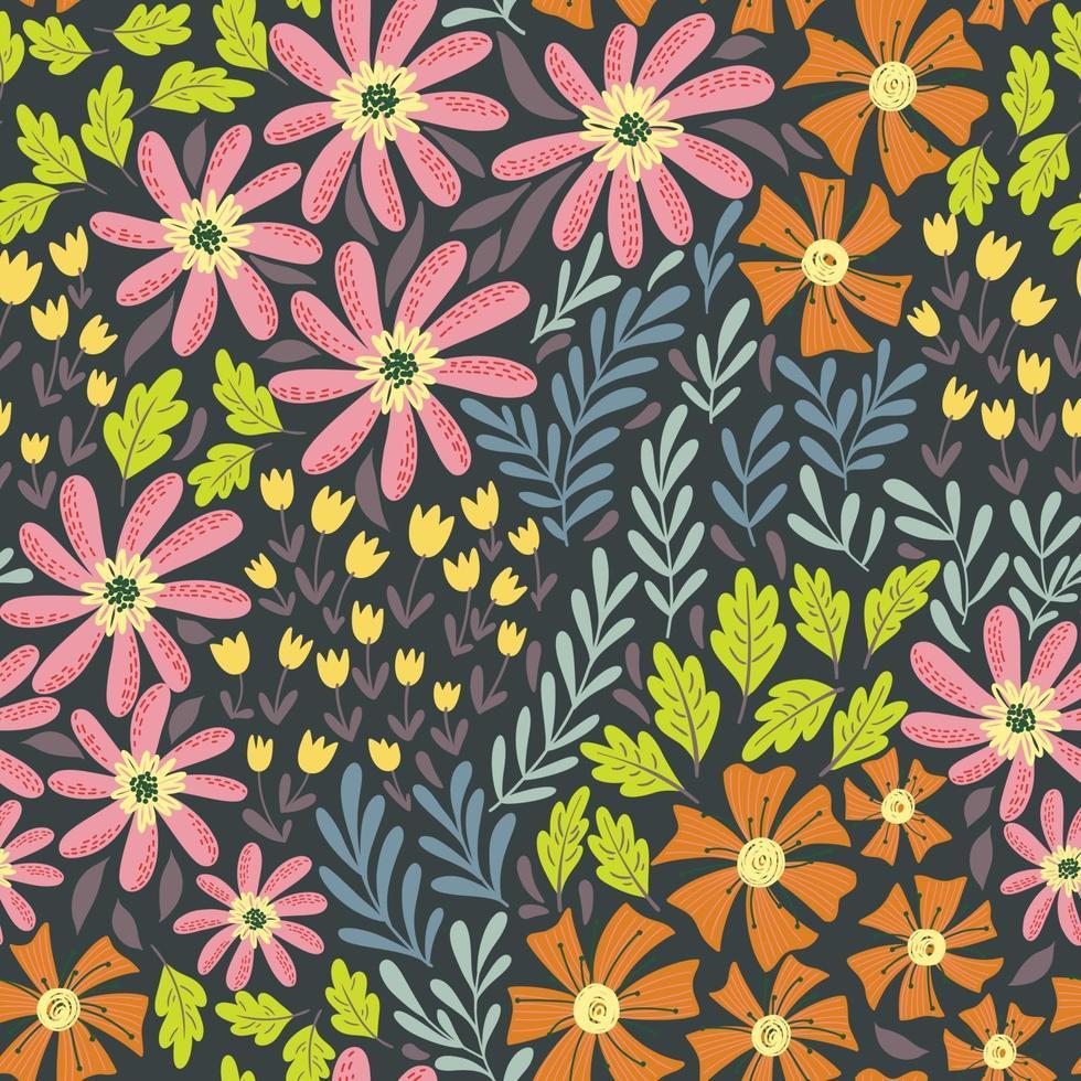 Enkla söta vilda blommönster vektor