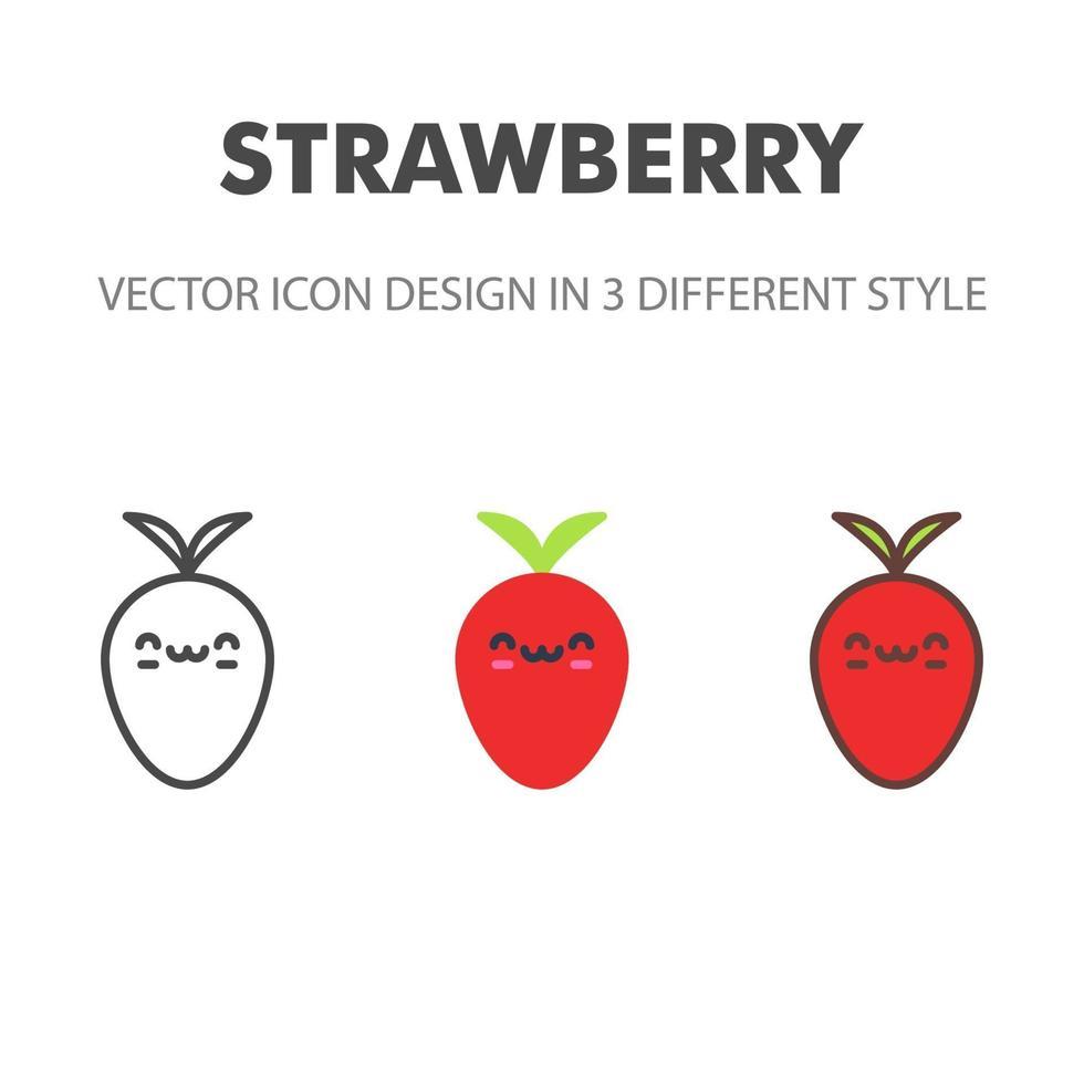 Erdbeer-Ikone. kawai und niedliche Nahrungsmittelillustration. für Ihr Website-Design, Logo, App, UI. Vektorgrafiken Illustration und bearbeitbarer Strich. eps 10. vektor