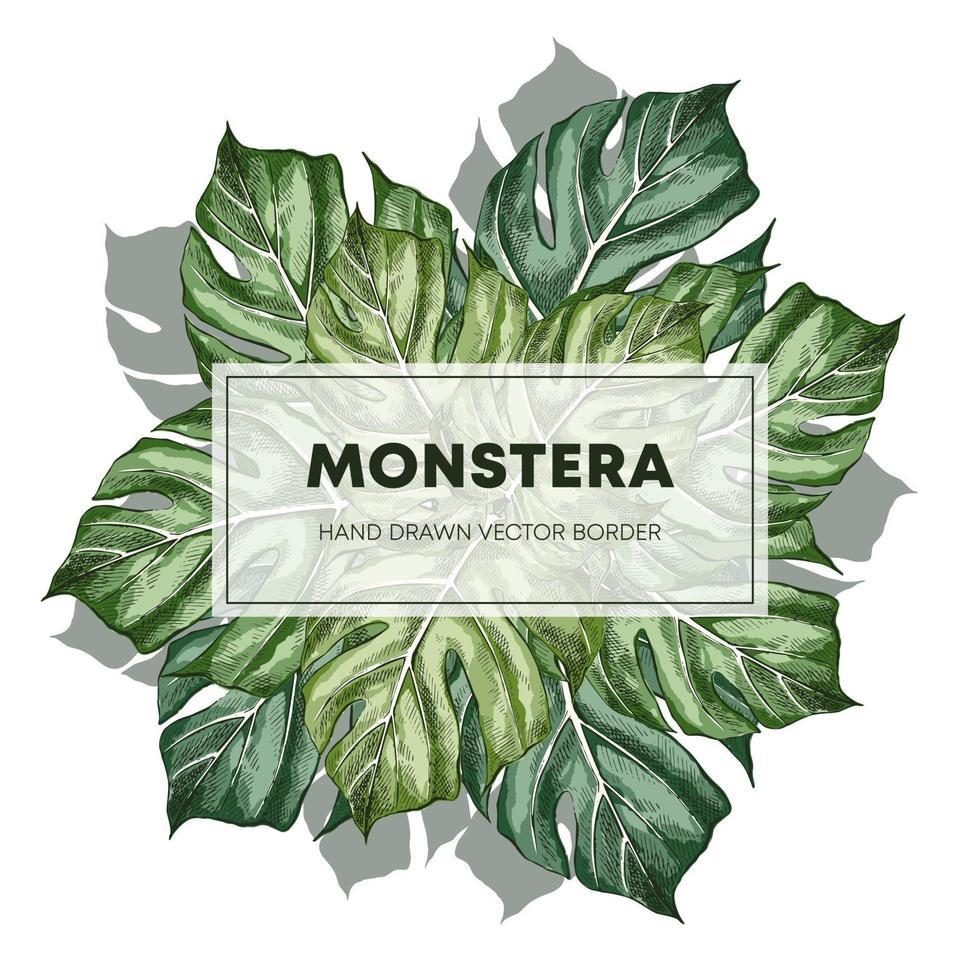 monstera design handritad affischmall vektor