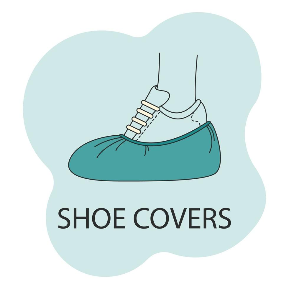 Vektorbild von Schuhüberzügen in der Farbe, Fußschutzsymbol auf einem weißen Hintergrund vektor