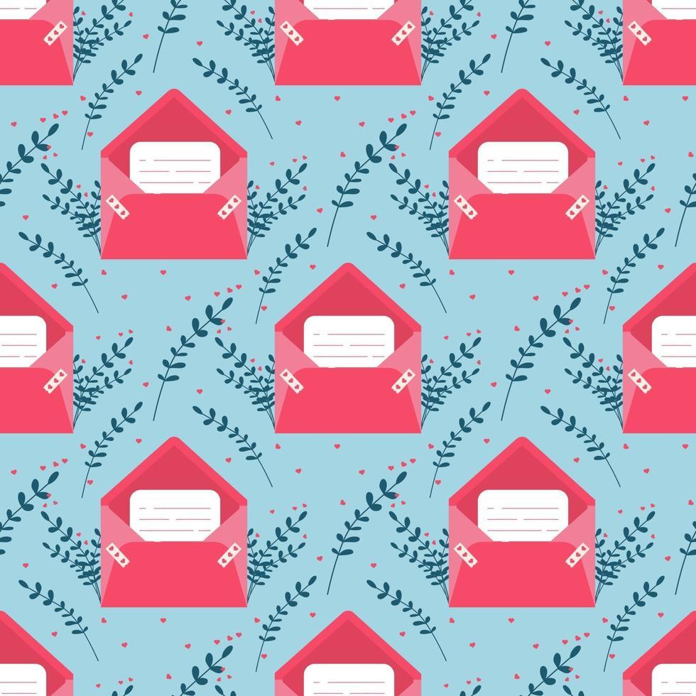 älskar post med valentin kort sömlösa mönster .. älskar dig papperskort kuvert. vektor