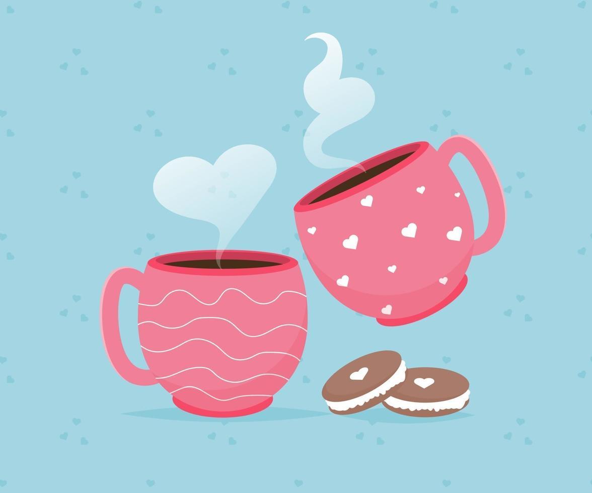 valentinkort med kaffekoppar makron efterrätt. älskar dig. romantisk semester Alla hjärtans dag affisch eller gratulationskort. vektor