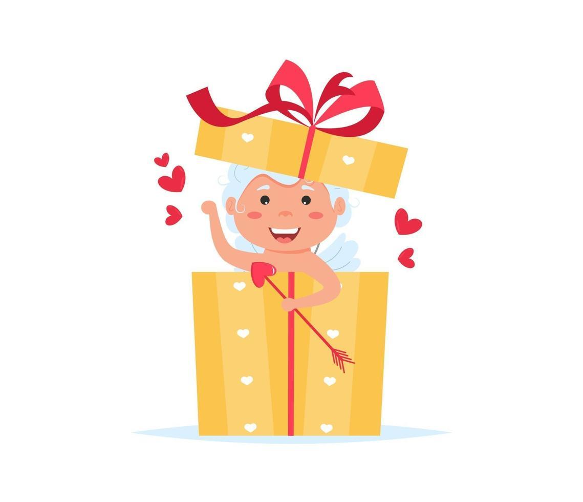 alla hjärtans cupid ängel i presentförpackning. söt pojke eller flicka cupid seriefigur. vektor