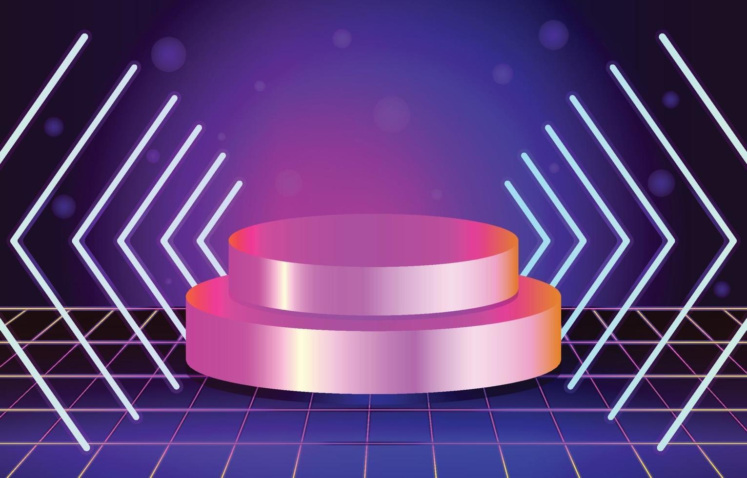 retro futuristiskt neonstadium vektor