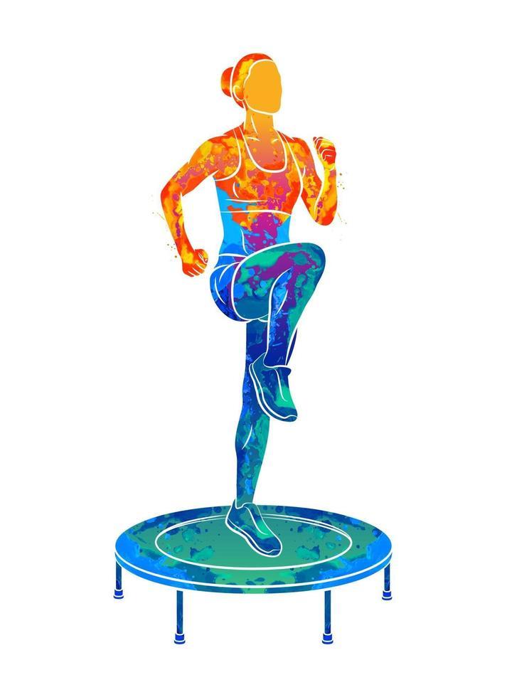 abstrakt kvinna hoppar på studsmatta. ung fitness tjej tränar på en mini studsmatta från stänk av akvareller. vektor illustration av färger