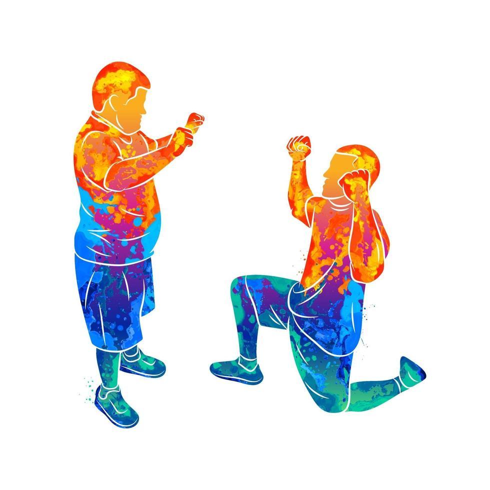 Der abstrakte Trainer hilft einem Jungen mit Down-Syndrom beim Spritzen von Aquarellen. besondere Bedürfnisse. Vektorillustration von Farben vektor