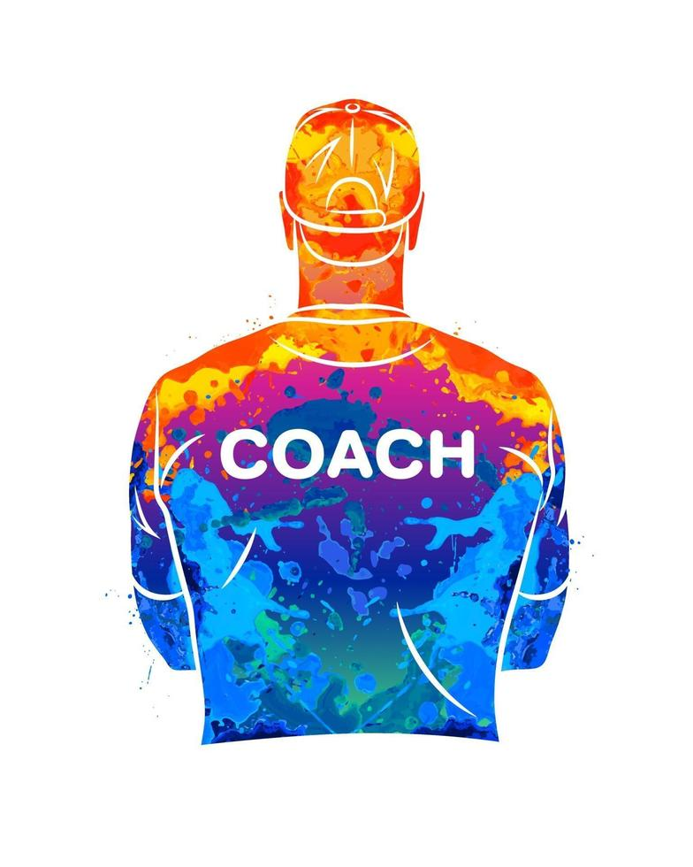 Der abstrakte Sporttrainer steht mit dem Rücken in einem T-Shirt und einer Baseballkappe. Hintergrund für Sport oder Coaching-Thema aus Spritzer Aquarelle. Vektorillustration von Farben vektor