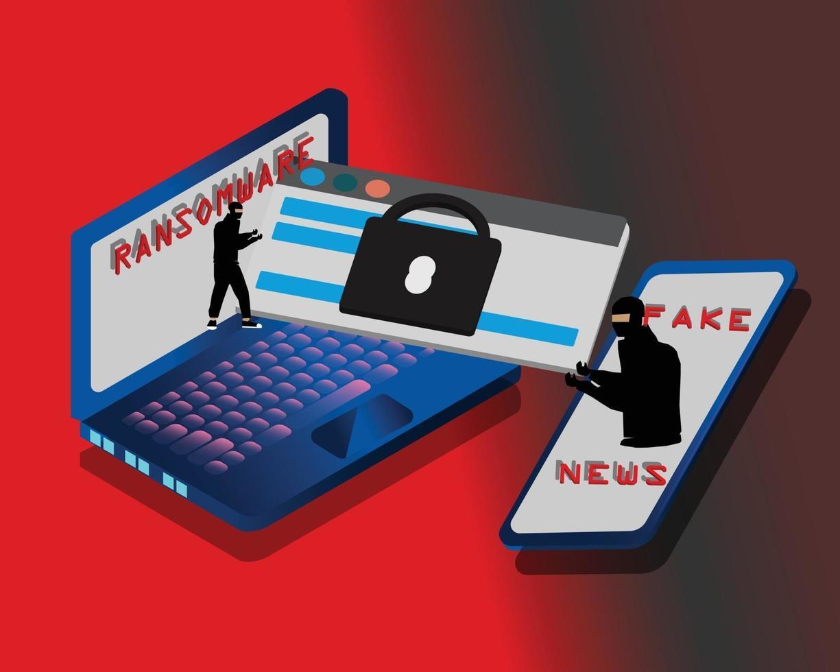 Betrug Betrug gefälschte Nachrichten Ransomware vektor