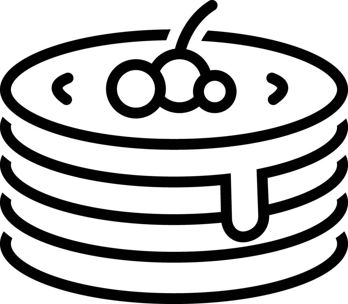 linje ikon för pannkaka vektor