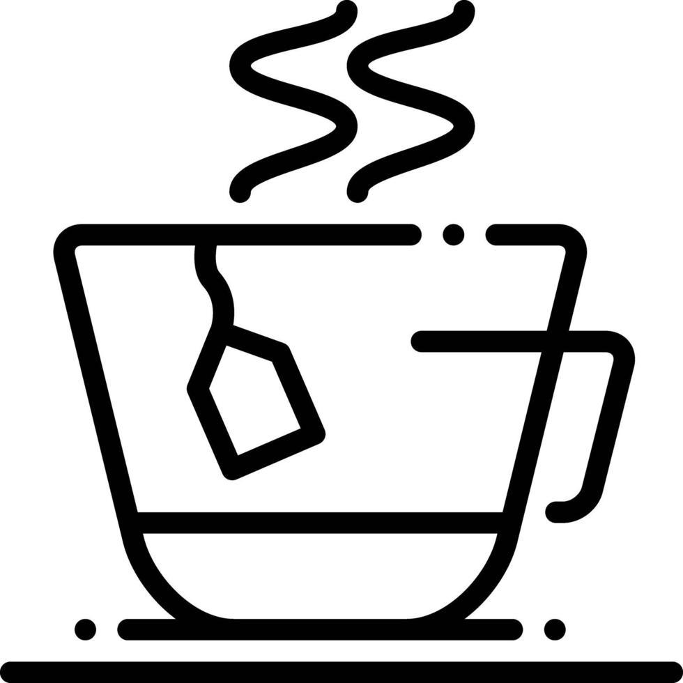 linje ikon för tepåse kopp vektor