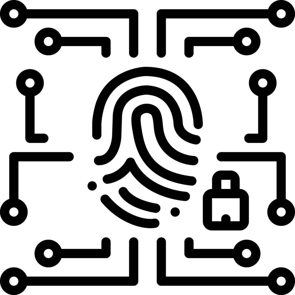 linje ikon för biometrisk datasäkerhet vektor