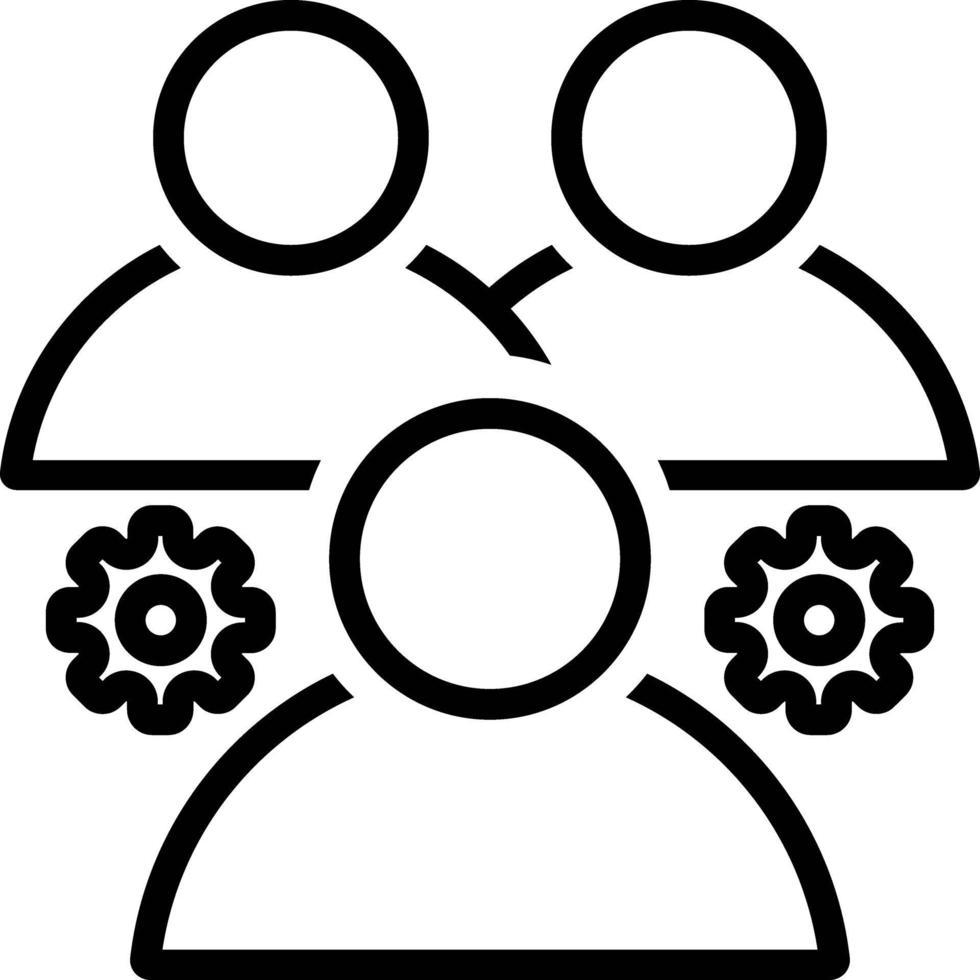 linje ikon för team vektor