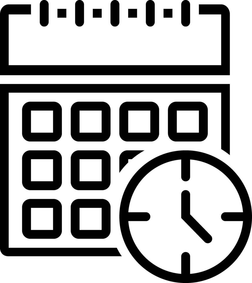linje ikon för tid vektor