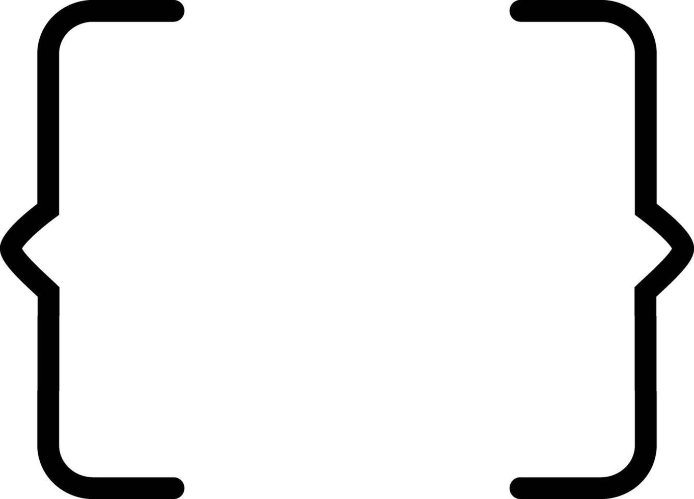 linje ikon för parentes vektor