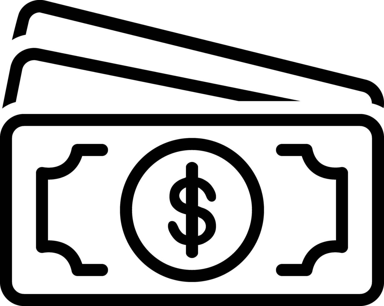 linje ikon för kontanter vektor