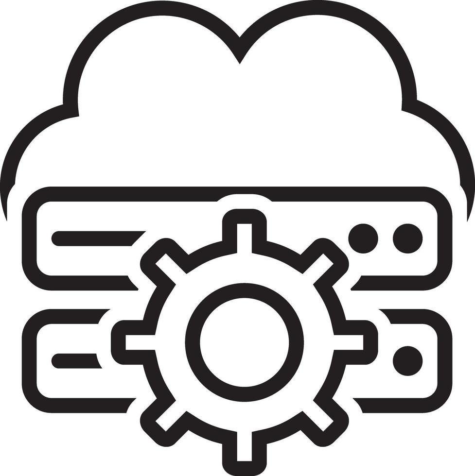 linje ikon för moln vektor