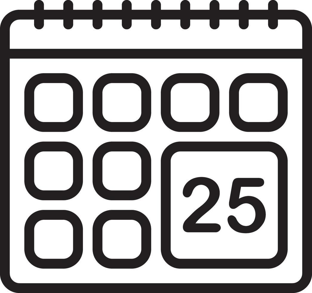 Zeilensymbol für Kalender vektor