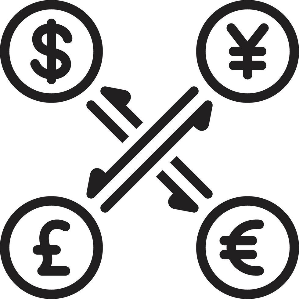 linje ikon för valuta vektor