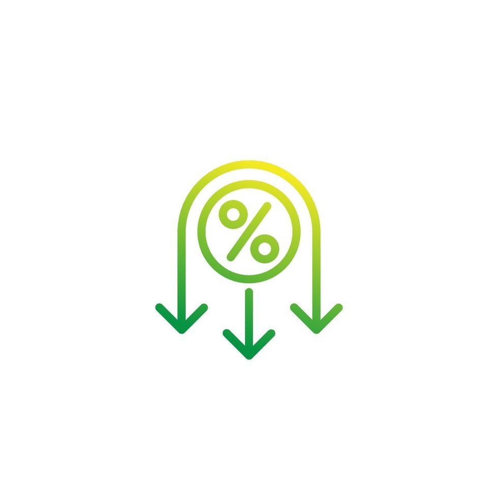 ikon för reducerad skattesats, linje vektor