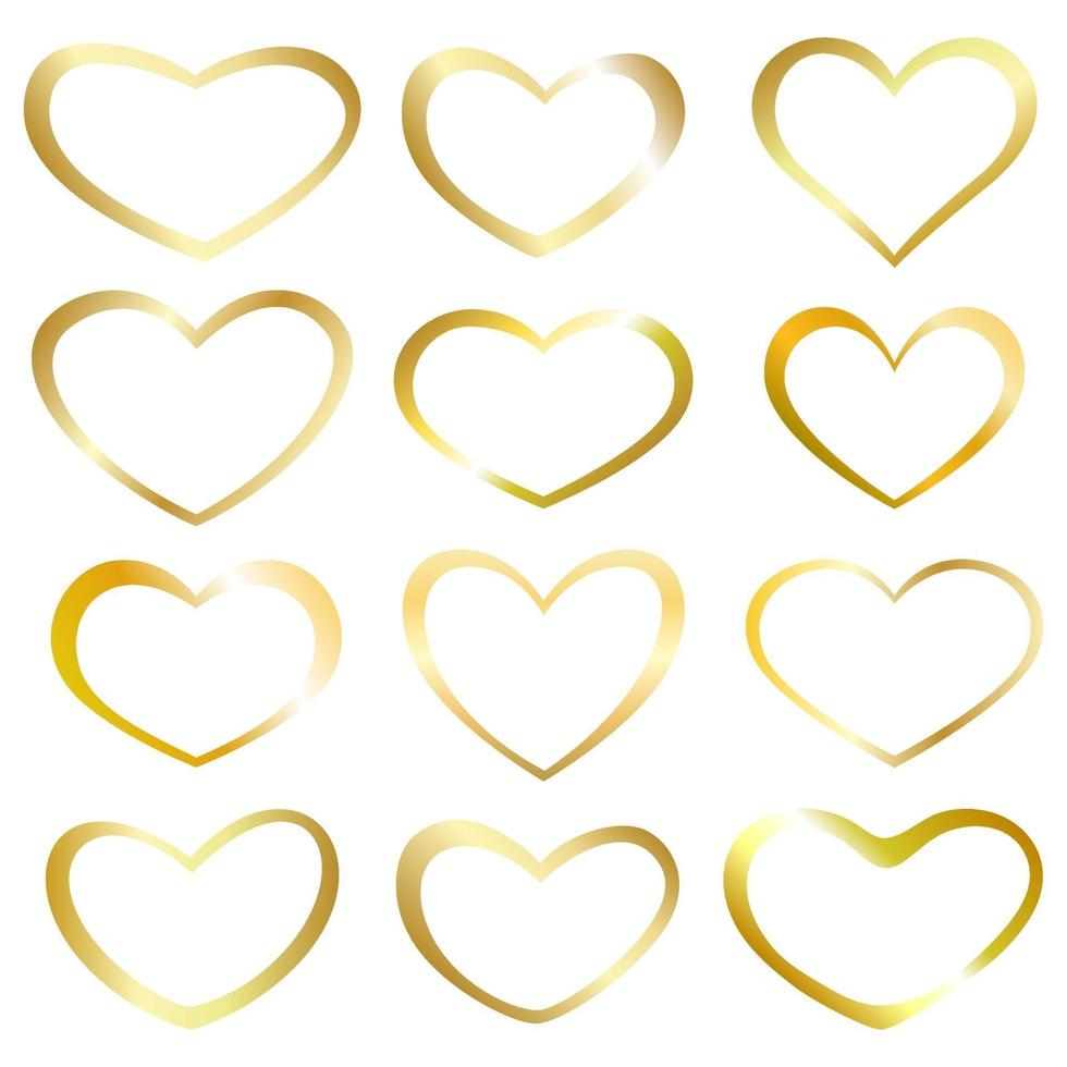 samling guld hjärta. element design för gratulationskort. vektor