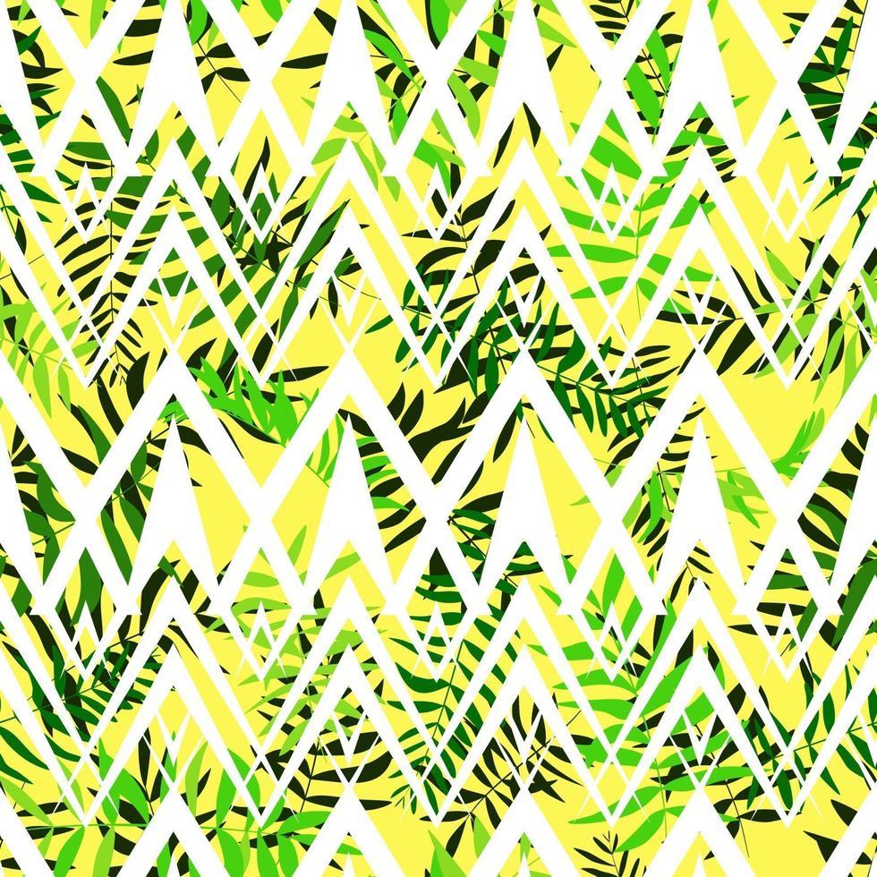 nahtlose grüne Blätter mit weißer geometrischer Verzierung. tropischer Hintergrund. Druck für Web, Stoff und Geschenkpapier. vektor