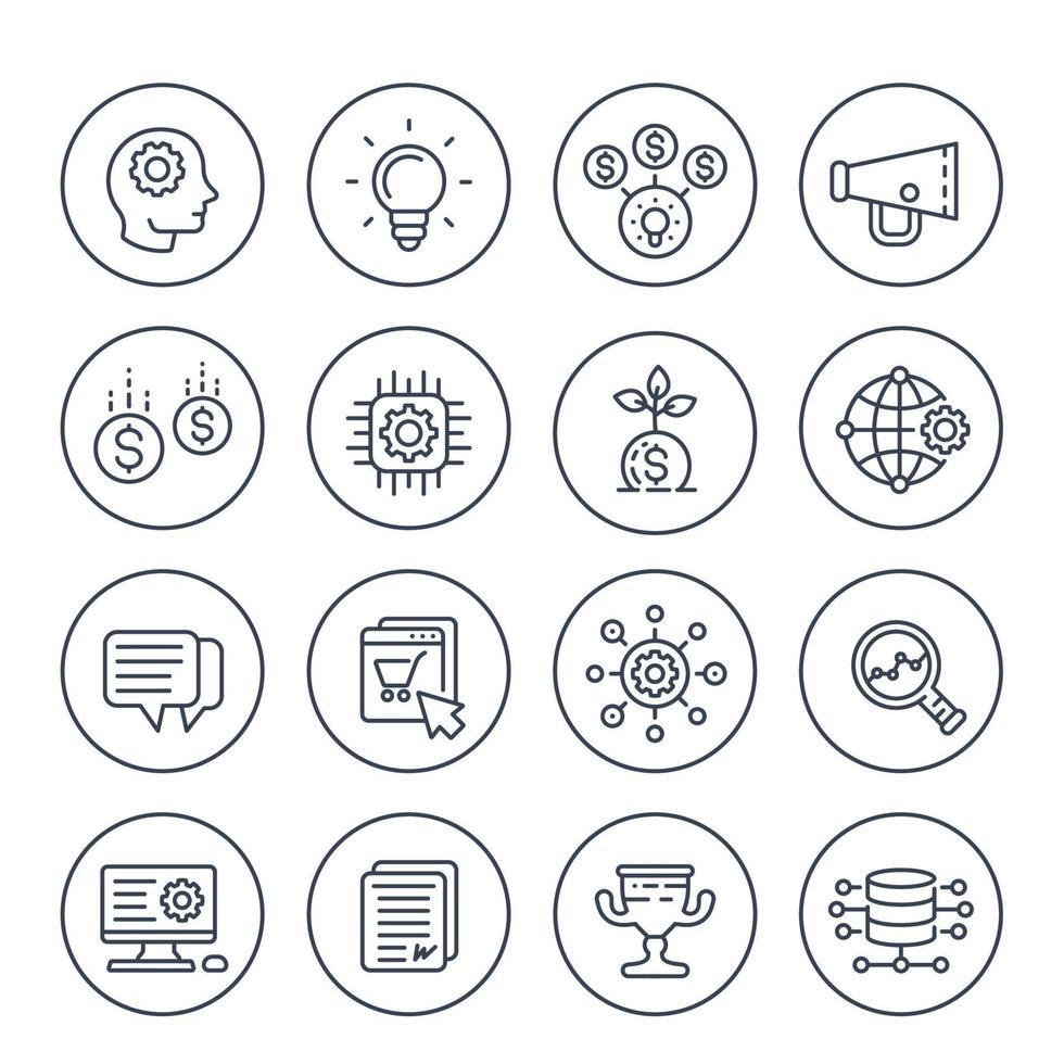 Startliniensymbole festgelegt, kreativer Prozess, Idee, Anfangskapital, E-Commerce, Projektwachstum und Analyse vektor