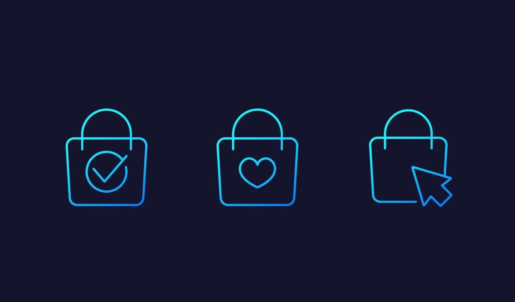 online shopping ikoner med väska, linjär vektor