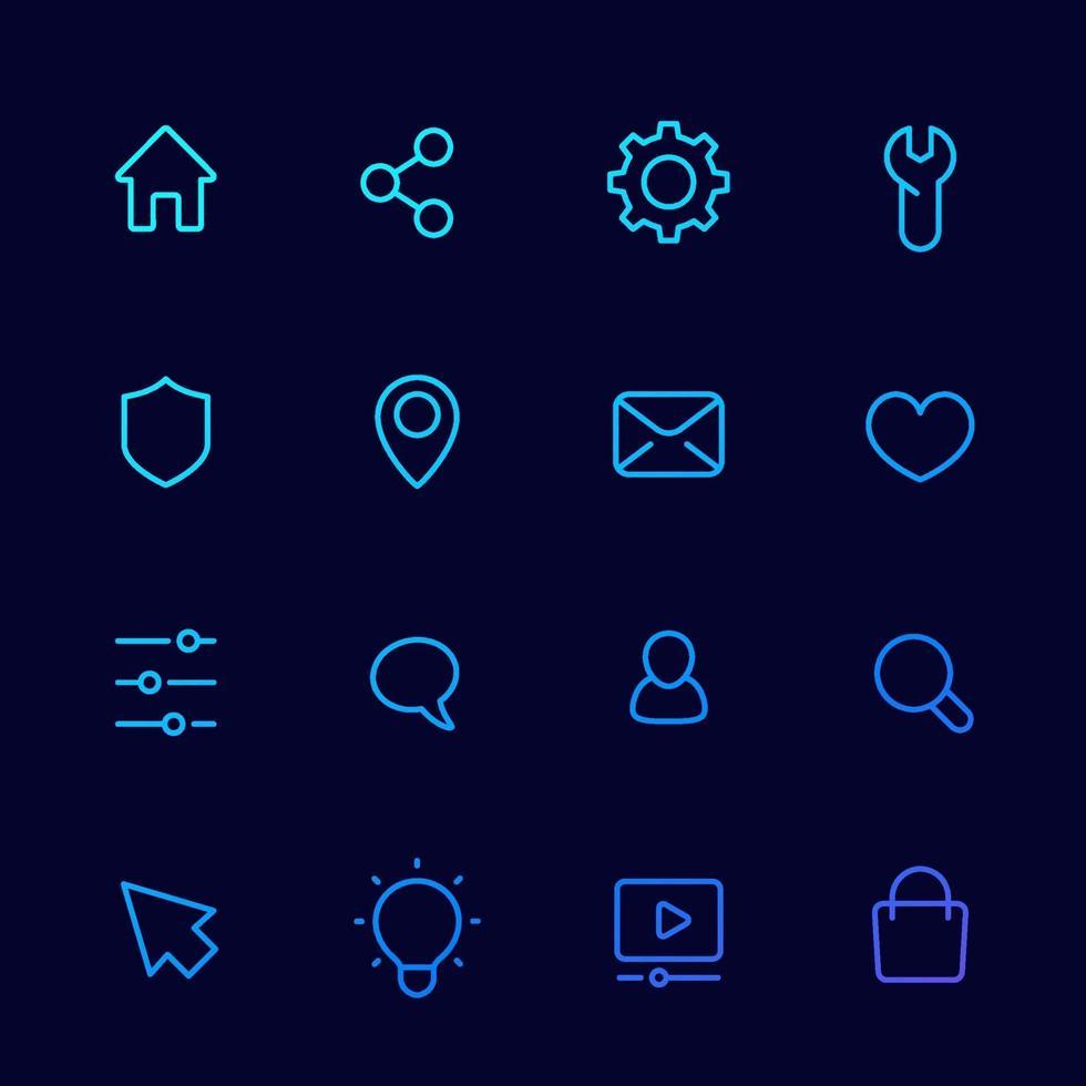 grundläggande ikoner för webb, linjär uppsättning vektor