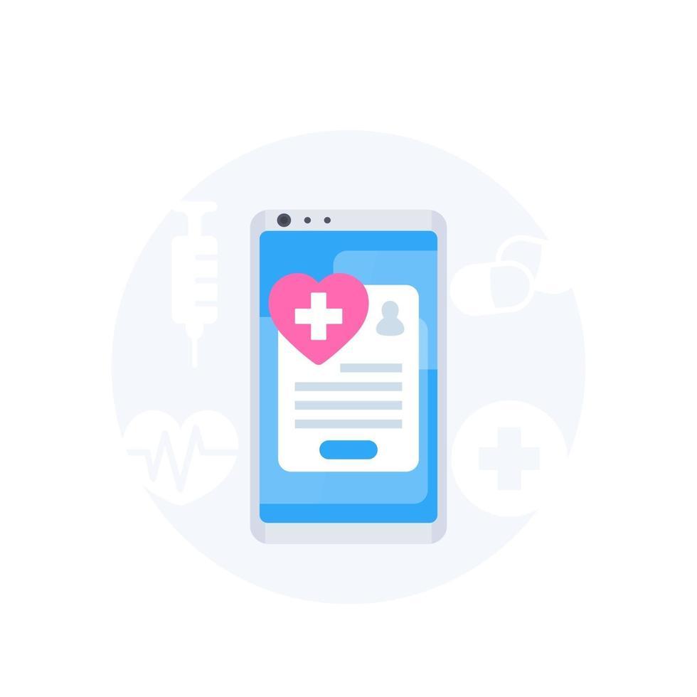 online medicinska tjänster, mobilapp vektor ikon