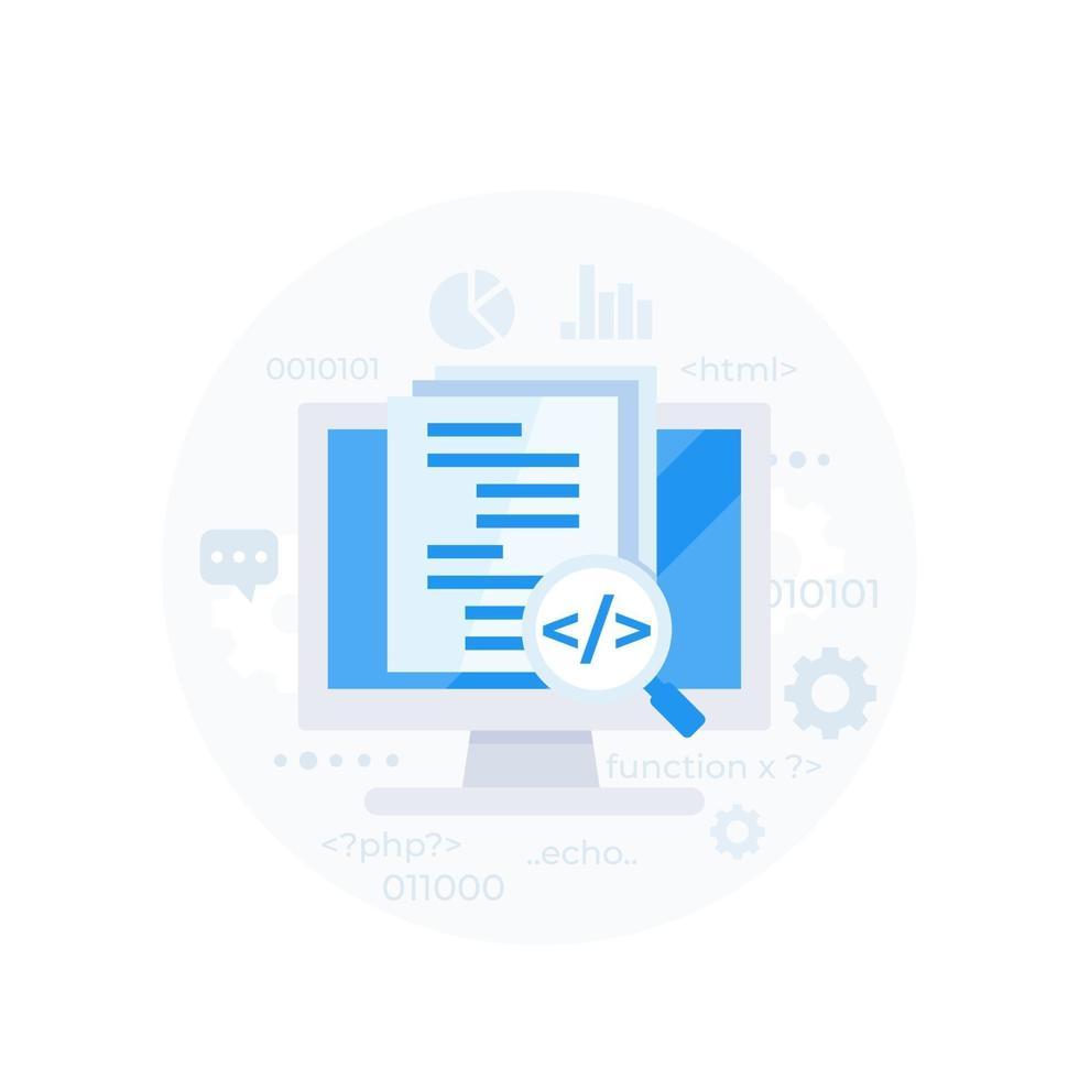 kodgranskning eller mjukvaruutveckling, vektor