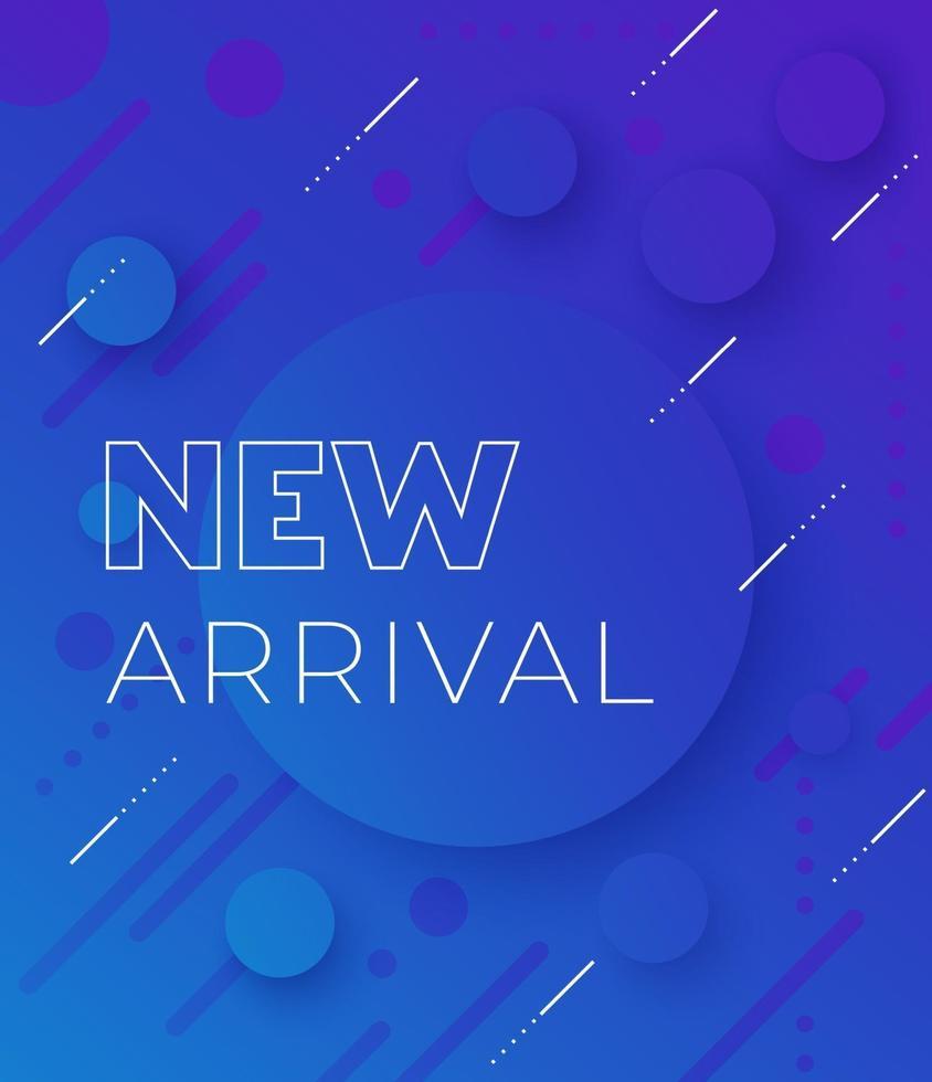 ny ankomst, vektor banner, blå bakgrund