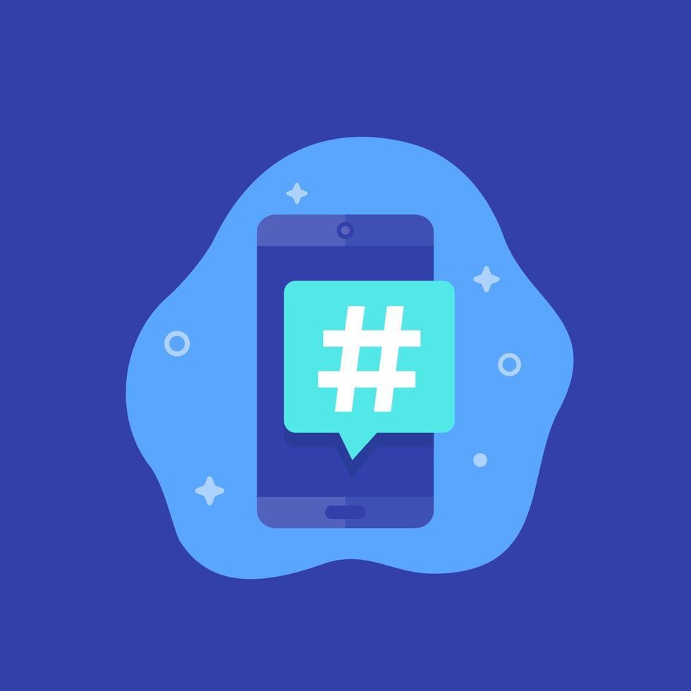hashtag-ikon med smart telefon, vektor
