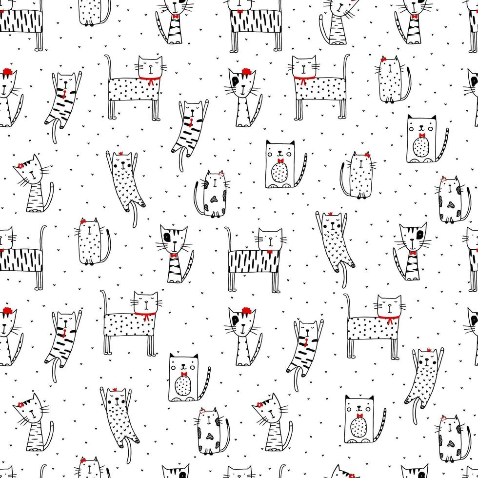 nahtloses lustiges Muster mit Gekritzelkatzen. niedliche Kätzchenillustration im Skizzenstil. Cartoon Tiere Hintergrund. Gekritzelkatzen. Druck für Stoff, Tapete, Geschenkpapier, Textil, Bettwäsche, T-Shirt-Druck. vektor