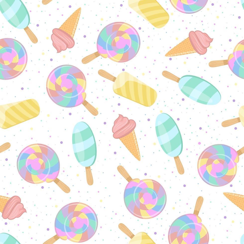 ljusfärgat mönster. regnbågsspiralboll, glass och söt strö. sömlös bakgrund för barnkläder. vektor