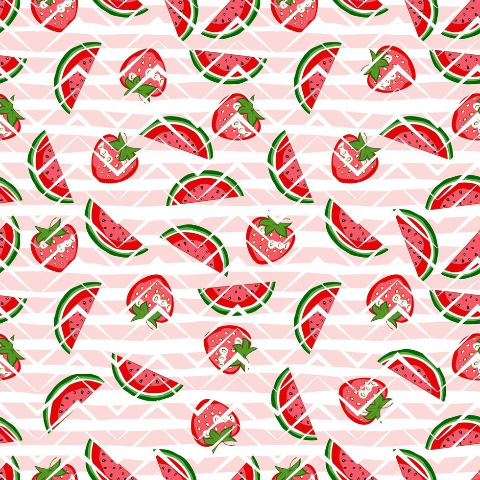 Nahtloses Muster der Wassermelone und der Erdbeere auf geometrischem Hintergrund. helles Sommermuster. Karikaturvektorfruchthintergrund für Stoff, Geschenkpapier und Telefonkasten. vektor